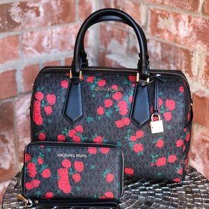 Michael kors Hayes duffle bag+wallet set floral